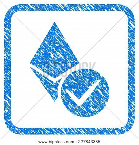 Valid Ethereum Crystal Rubber Seal Stamp Watermark. Icon Vector Symbol With Grunge Design And Corros