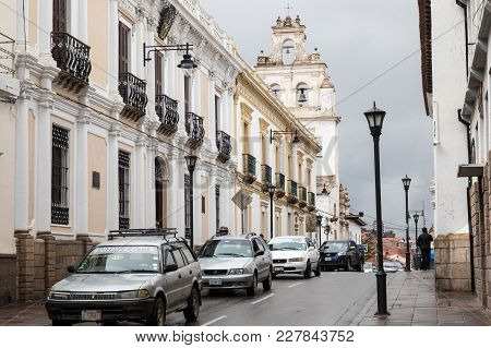 Sucre, Boliwia - February 08, 2018: Street In Sucre. Sucre Is The Constitutional Capital Of Bolivia.