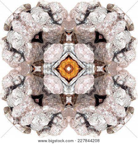 Mandala, Kaleidoscope , Seamless Pattern Silver  Nugget  Abstract Background