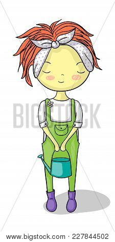 Cute Cartoon Of Red-haired Urban Gardener Girl With Water Can And Rubber Boots.