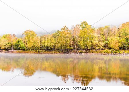 New River Gorge Water River Lake During Autumn Golden Orange Foliage In Fall By Grandview With Peace