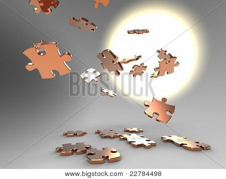 Falling Golden Pieces Of Puzzle