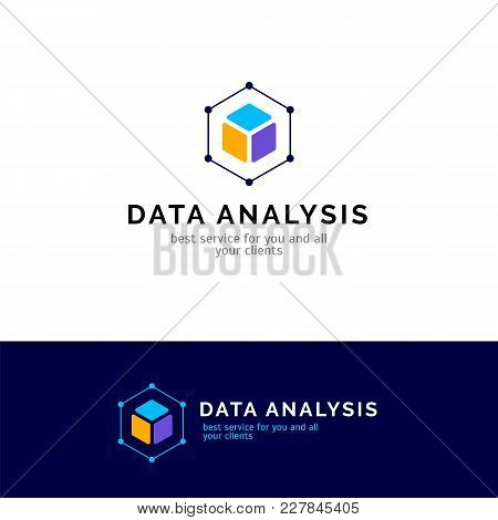 Cube Abstract Logo Design. Vector Data Analysis Company Symbol