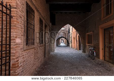 The Medieval Street Of The Arches (via Delle Volte). Picturesque Alley In The Old City Of Ferrara, E