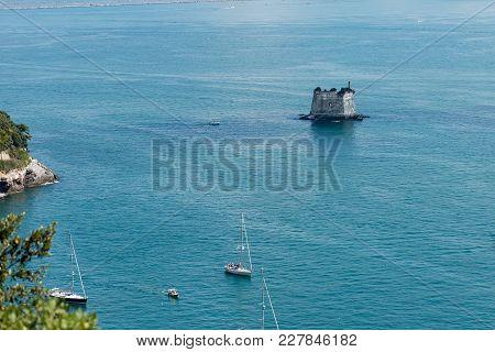 The Scola Tower (torre Scola) Xvii Century In The Gulf Of La Spezia Or Gulf Of Poets (golfo Dei Poet