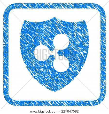 Ripple Shield Rubber Seal Stamp Imitation. Icon Vector Symbol With Grunge Design And Unclean Texture