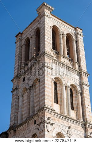 Close-up Of The Bell Tower Of The St. George Cathedral (cattedrale Di San Giorgio - 1135) In Renaiss