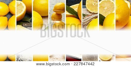 Food Collage Of Fresh Lemon Photo. White Space For Text.