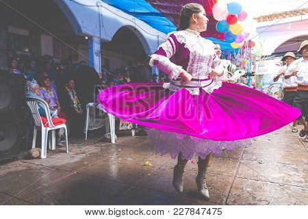 Sucre, Bolivia - February 8, 2018: Dancers At Sucre Carnival In Bolivia.