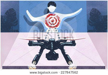Drone Attacking A Women. Drone Targeting A Human. Autonomous Drone Seeking Out Human Target.