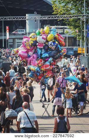 Amsterdam, Netherlands, 20 August 2015: Balloons Sale At The Sail 2015 Event In Amsterdam