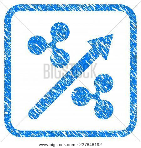 Ripple Up Arrow Rubber Seal Stamp Imitation. Icon Vector Symbol With Grunge Design And Dirty Texture