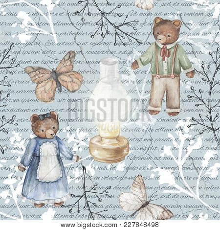 Seamless Background Pattern With Kerosene Lamp, Butterflies, Twigs And Bears. Watercolor Hand Drawn