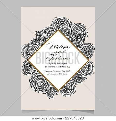 Greeting Card Made Of Hand Drawn Flowers Roses. Monochrome Botanical Vintage Vector Illustration. Bl