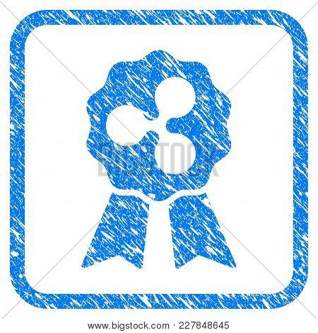 Ripple Reward Ribbons Rubber Seal Stamp Watermark. Icon Vector Symbol With Grunge Design And Unclean