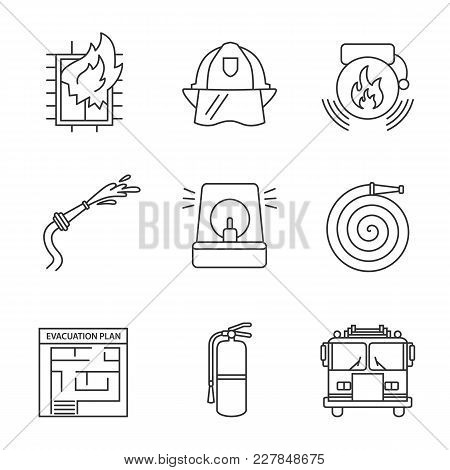 Firefighting Linear Icons Set. Hard Hat, Fireman Siren, Alarm Bell, Hose, Firefighter Engine, Exting