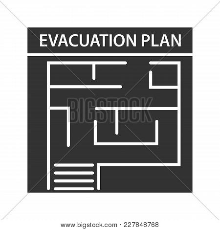 Evacuation Plan Glyph Icon. Fire Escape Plan. Silhouette Symbol. Negative Space. Vector Isolated Ill