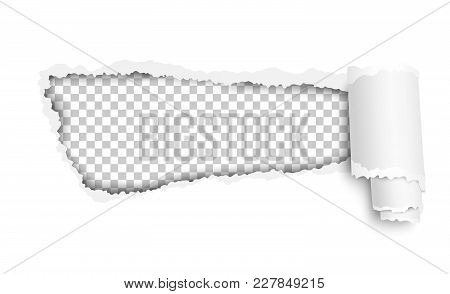 Vector Lacerated Hole In White Sheet Of Paper With Soft Shadow, Transparent Background Of The Result