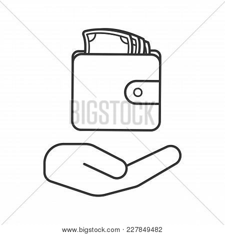 Open Hand With Wallet And Money Linear Icon. Cash Loan. Thin Line Illustration. Money Saving. Contou