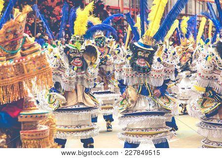 Oruro, Bolivia - February 10, 2018: Dancers At Oruro Carnival In Bolivia, Declared Unesco Cultural W