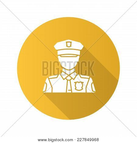 Policeman Flat Design Long Shadow Glyph Icon. Police Officer. Profession. Vector Silhouette Illustra