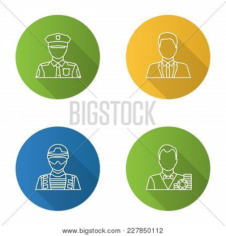 Professions Flat Linear Long Shadow Icons Set. Occupations. Policeman, Soldier, Croupier, Office Wor