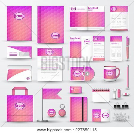 Corporate Identity Template Set. Business Stationery Mock-up With Geometric Texture On Blurred Backg