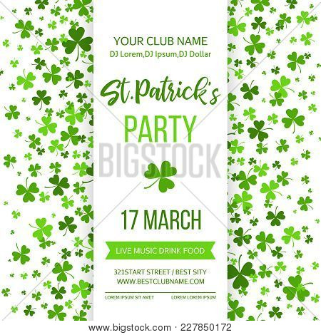 Saint Patrick S Day Poster With Green Four And Tree Leaf Clovers On White Background. Vector Illustr