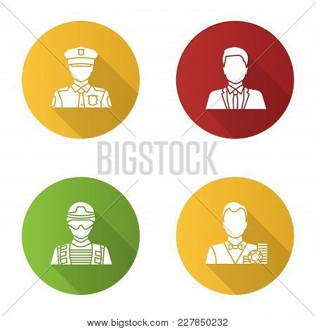 Professions Flat Design Long Shadow Glyph Icon. Occupations. Policeman, Soldier, Croupier, Office Wo