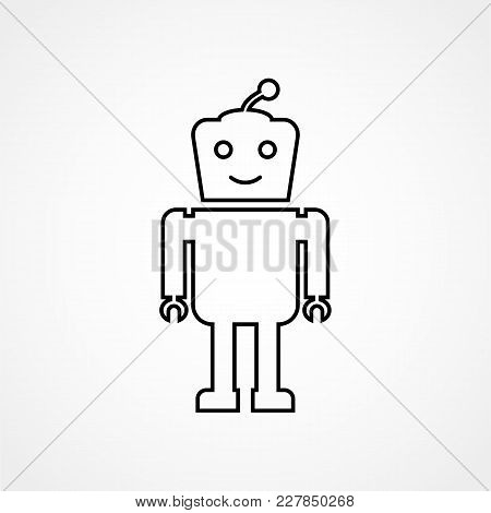 Outline Icon Is A Friendly Robot On White Background. Design For Web Applications, Chats, Automatic