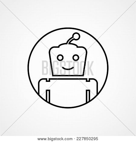 Bot Icon. Chatbot. Cute Smiling Robot. Vector Modern Line Character Illustration Isolated On White B