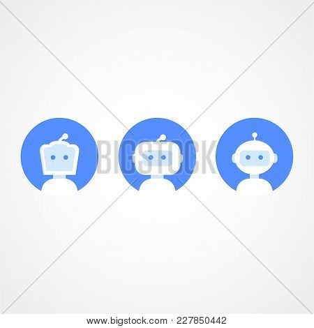 Chatbot Icon Set. Robot Icon. Bot Sign Design. Chatbot Symbol Concept. Voice Support Service Bot. On