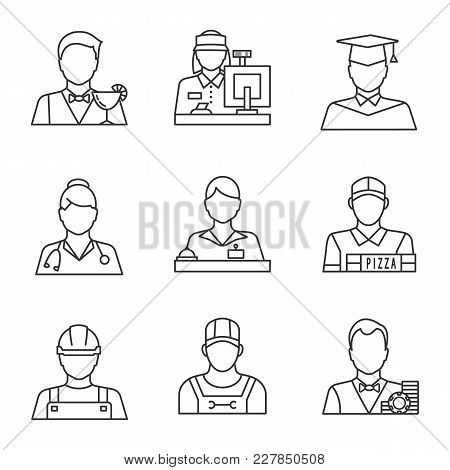 Professions Linear Icons Set. Barman, Cashier, Graduate Student, Doctor, Receptionist, Pizza Deliver