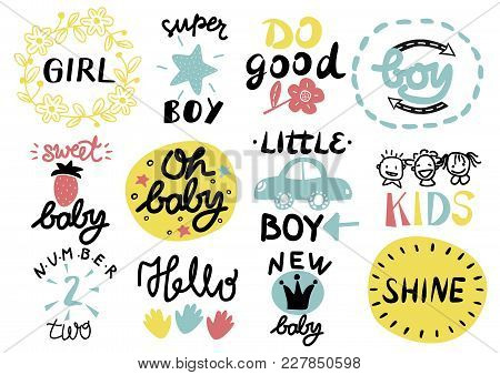 12 Children S Logo With Handwriting Little, Girl, Boy, Hello, Oh Baby, Shine, Sweet, Number Two, Do