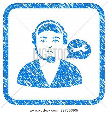 Support Center Operator Rubber Seal Stamp Imitation. Icon Vector Symbol With Grunge Design And Dirty