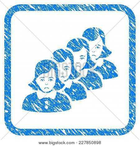 Woman Queue Rubber Seal Stamp Imitation. Icon Vector Symbol With Grunge Design And Dust Texture Insi