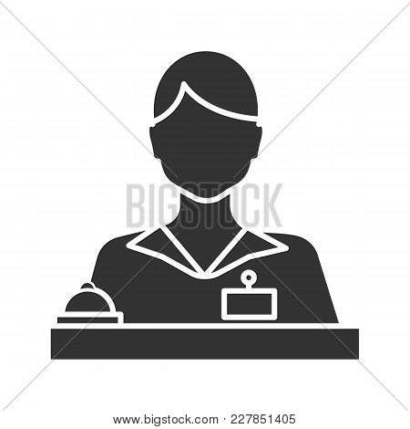 Receptionist Glyph Icon. Secretary, Manager. Silhouette Symbol. Negative Space. Vector Isolated Illu