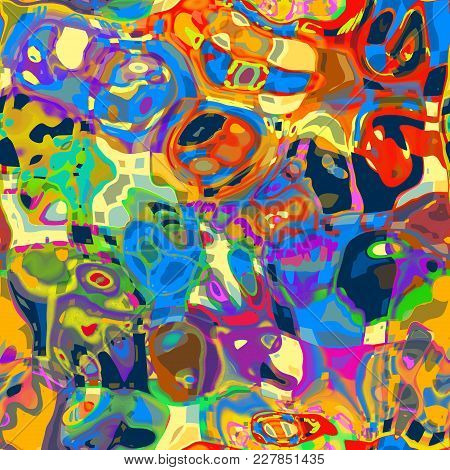 An Artistic And Funky Abstract Background With Mashed Up Shapes And Colors.