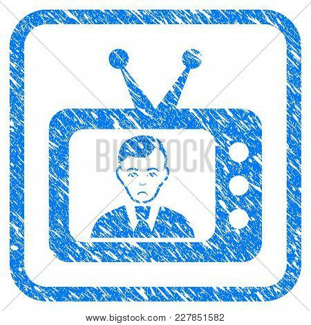 Tv Dictor Rubber Seal Stamp Imitation. Icon Vector Symbol With Grunge Design And Dirty Texture Insid