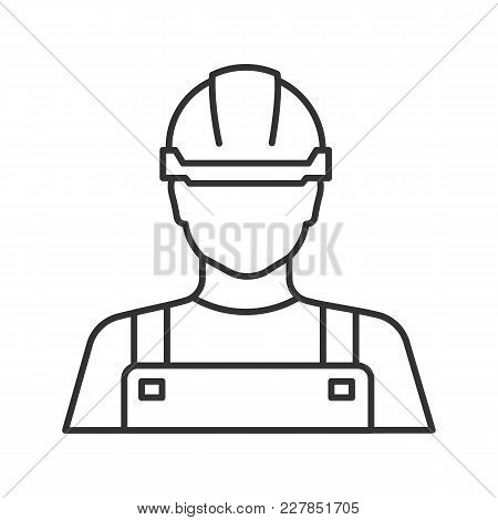 Builder Linear Icon. Construction Worker. Thin Line Illustration. Contour Symbol. Vector Isolated Ou