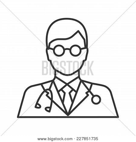 Doctor Linear Icon. Medical Worker. Practitioner. Scientist. Thin Line Illustration. Contour Symbol.