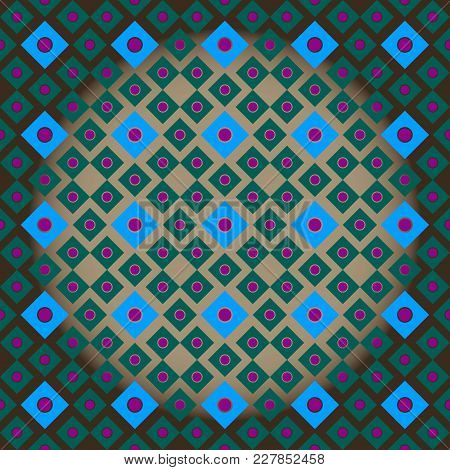 Vector Illustration Seamless Ornament Of Squares Of Blue And Green With Lilac Circles Inside On A Br