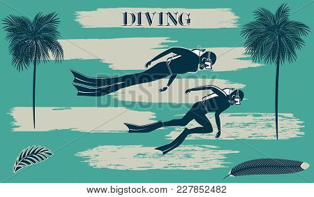 Scuba Diving - Divers - Brush Stroke Style Grunge - Art Abstract Vector Illustration. Travel Poster.