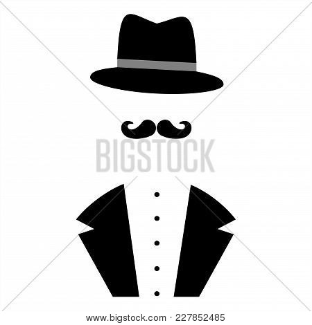 Gentleman Symbols. Man Silhouettes. Person with a hat.