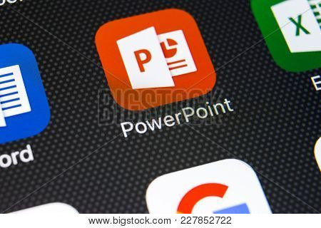 Sankt-petersburg, Russia, February 22, 2018: Microsoft Powerpoint Application Icon On Apple Iphone X