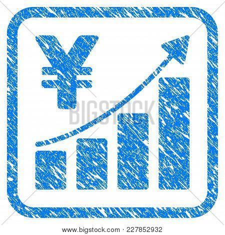 Yen Growth Graph Rubber Seal Stamp Watermark. Icon Vector Symbol With Grunge Design And Dust Texture