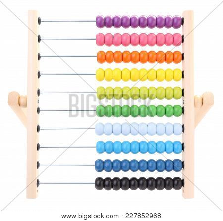 Front Abacus For Child Learning On White Background.