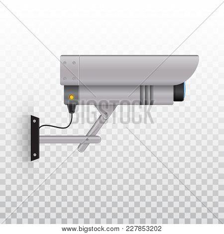 Outdoor Video Camera, Outdoor Cctv Camera. Videcam. Vector Illustration On Transparent Background