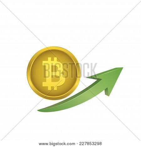 Bitcoin Coin With Green Arrow. Electronic Virtual Money Growth Illustration