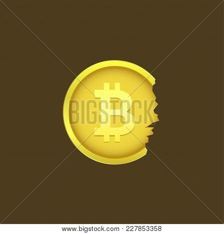 Golden Cracked Bitcoin Coin. Virtual Electronic Money Symbol